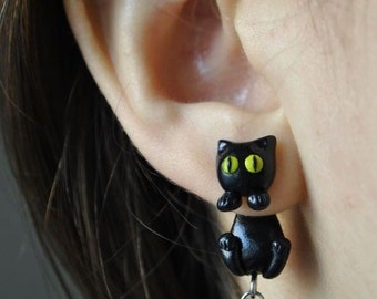 Black Cat Clinging Earrings - Kuroneko - Trigun - Gift for her - Woman Gift
