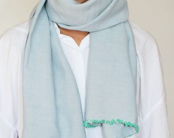 linen scarves with stones emborideries  made in France