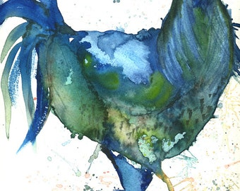 Big Blue Chicken Art Print by artist Leah McCloskey