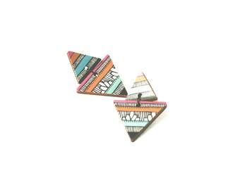 Aztec Earrings Tribal Earrings Wooden Jewelry Triangle Earrings Colorful Jewelry Geometric Jewelry Modern Jewelry Gift Mountain Earrings