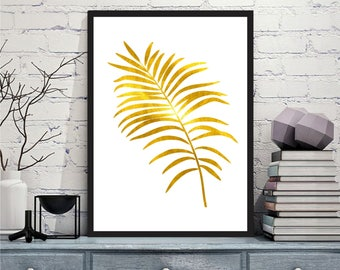 Printable art Digital Prints modern gold palm leaf wall art printable art, printable prints