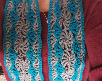 Teal and Gray, Crochet Lace Scarf
