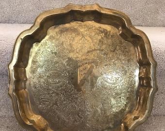 Vintage Oneida USA Brass Serving Plate Tray