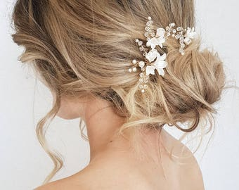 BRIAR-ROSE | pearl bridal hair pins, delicate bridal headpieces, wedding hair pins, floral hair pins