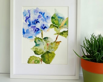 Hydrangea Watercolor, Print from Watercolor, 8x10, 11x14, Watercolor Flowers