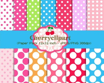 Pretty Polka Dots Cute Digital Backgrounds for Card Design, Scrapbooking, and Web Design
