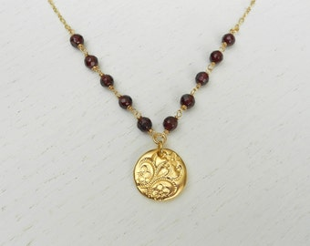 January birthstone necklace, Garnet necklace, Gold coin pendant