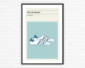 Wes Anderson, The Life Aquatic Adidas Rom Zissou Shoes Minimalist Movie Poster