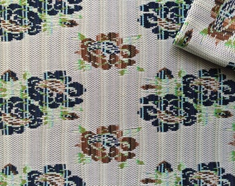 Vintage Fabric 60's Mod, Floral, Polyester, White, Brown, Green, Navy, Textiles