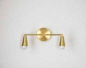 Wall Sconce Vanity Gold Brass 2 Bulb Cone Covers Round Base Modern Downward Abstract Mid Century Art Light Bathroom UL Listed