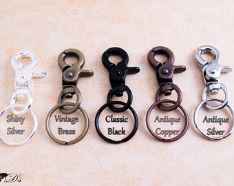 10 Key Chains Heavy Duty Steel with Lobster Claw Hooks and Matching Key Chain Rings - 5 Colors - Key chain Fobs