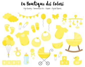 Yellow Baby Shower Clipart, Cute Graphics PNG, Scrapbook Invitation New baby boy - girl, nursery  Clip art, Planner Stickers Commercial Use