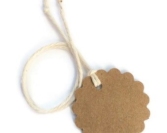 """Kraft Scallop Circle Tags  Size 1.5"""" Tags with Strings, Sets of 25, 50, 100"""