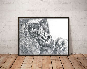 pencil drawing, monkey picture,digital download, artistic reflections, illustration, gorilla picture, contemporary art,wall art,artprint
