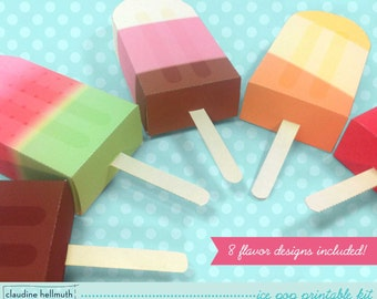 ice pop -  party favor boxes and gift card holders printable PDF kit - INSTANT download