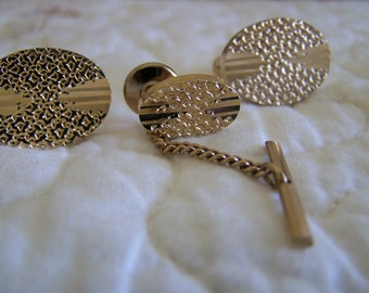 Vintage 80's Cuff Links Gold Toned with Matching Tie tack Like new Condition