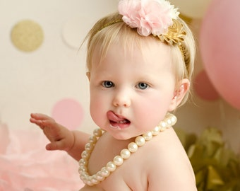 Light Pink and Gold Shabby Chic Headband - Girls Headband - Shabby Chic Headband - Baby Headband