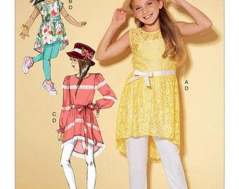 MCCALL'S M7527 Girls High-Low Hem Tunics and Leggings. Size 3-6. Pattern is new and uncut.