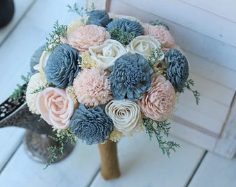 Sola Bouquet, wedding bouquet, bridal bouquet, bridesmaid bouquet, blue pink bouquet, sola flowers, slate blush wedding