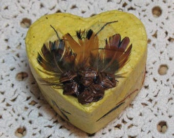 Handmade Recycled Paper Heart Box w Feathers and Pinecone Petals
