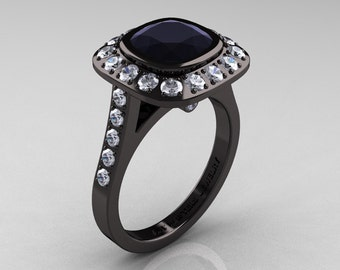 Legacy 14K Black Gold 2.0 Ct Cushion Black and White Diamond Engagement Ring R60E-14KBGDBD