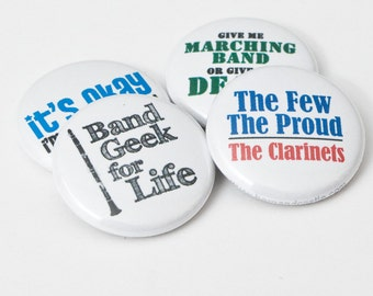 Four Clarinet and Marching Band One Inch Buttons or Magnets - CL 1