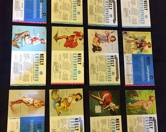 Set of 12 Vintage Elvgren Pin-Up Girlie Advertising Calendar Cards