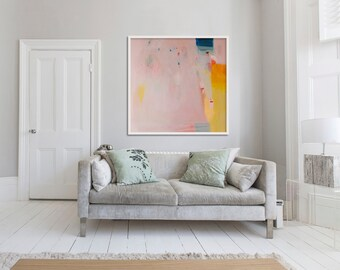 "LARGE print of PAINTING, giclée print, abstract print, pink, yellow, ""Eminently Pink'"