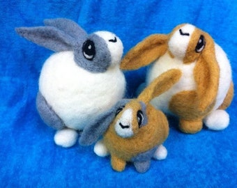 Roly Poly Rabbits... Cute fat little needle felted bunnies