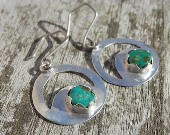 Eclipse Chrysocollas round Sterling Silver earrings
