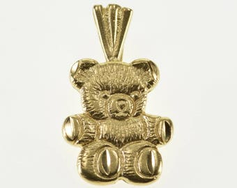 14k Texture Teddy Bear Stuffed Animal Pendant Gold