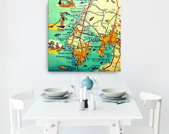 Tampa Florida map on Canvas, Clearwater St Petersburg beach house wall art