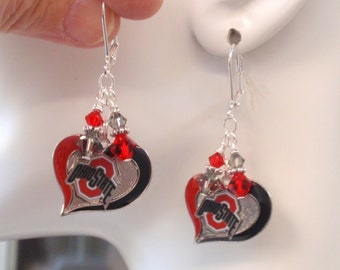 Ohio State Earrings, OSU Jewelry, Scarlet and Gray Crystal College Earrings, College Football Buckeyes Bling Accessory Fanwear