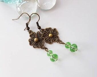 Antique Brass Green Dangle Earrings, Green Earrings, Antique Brass Earrings, Long Dangle Earrings