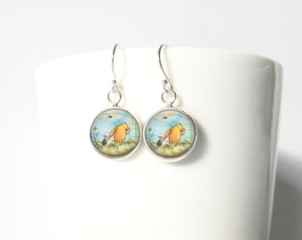 Winnie the Pooh and Piglet  Sterling Silver Earrings Gift  Silver Jewelry