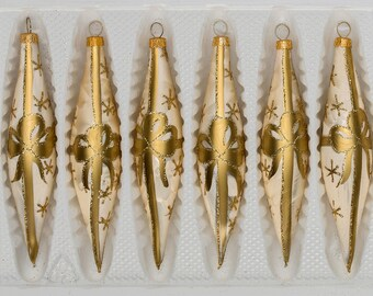 "Navidacio 6 pcs. Glass Ice Drops in ""Ice Champagne"" Golden Bow New"