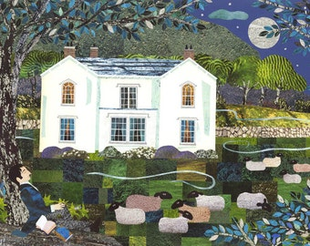 Wordsworth Greeting Card - Lake District - English Romantics - Naive Art - National Trust - Sheep - Poetry - Moonlight - Nocturne