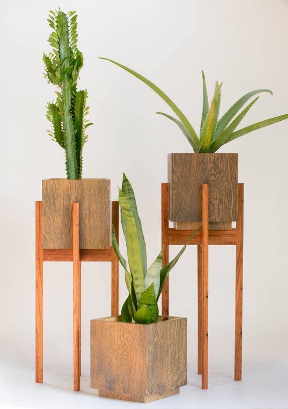 mid century modern plant stand with pot large planter with. Black Bedroom Furniture Sets. Home Design Ideas
