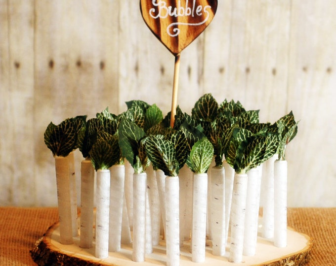 100 White Birch Twig Style Wedding Bubble favors with base and heart sign White Birch