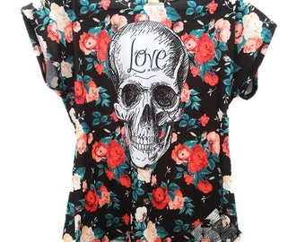T-shirt female Floral Mexican skull