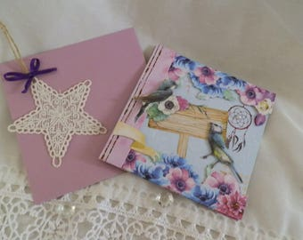 Pretty floral 3D card and its small star lace
