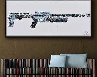 """55"""" x 20"""" Air gun,  thick oil paint impasto style modern Art on canvas , Express shipping worldwide, By Koby Feldmos"""