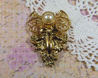 "Vintage ""JANE"" Embossed Gold and Pearl Bow Brooch - BR-577 - JANE Gold Brooch - Jane Pearl Brooch - Jane Bow Brooch"