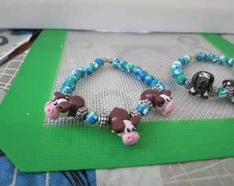 Handmade Animal Bracelet Hereford Cow You pick Animal Polymer Clay Made to Order by Shannon Ivins