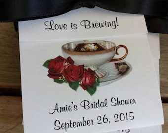 Red Roses Anniversary Personalized  Teacup Tea Bag Party Favors for Bridal Shower or Wedding Birthday Celebration