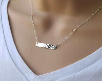Horizontal Bar Necklace, hammered finish sterling silver, layering, minimal jewelry