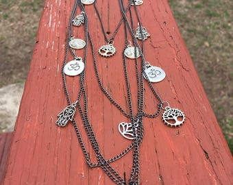Layered chain necklace Yoga Charms