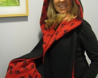 Paw Print Hooded Scarf with Pockets - Red and Black