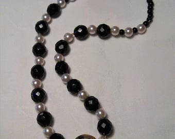 Black faceted glass beads necklace.  White pearls. Unique creation. Hand made. Womens gift
