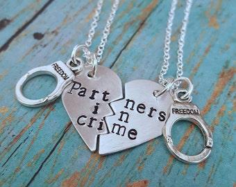 Partners in Crime Necklace - Best Friends - Best Friend - Besties - BFF - BFF's - Friendship - Necklace - Gift for a Friend - Friend Gift